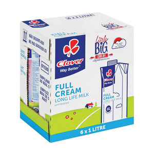 Clover UHT Long Life Full Cream Milk 1l  x 6