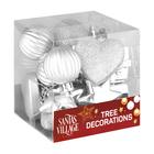 Santa's Village Tree Decoration Silver 18 Piece