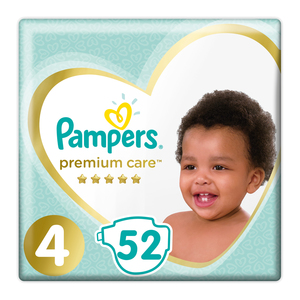 Pampers Premium Care Size 4 Jumbo Pack, 52 Nappies