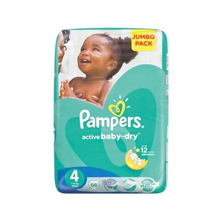 Pampers Active Baby Nappies Maxi Jumbo Pack 66s x 2
