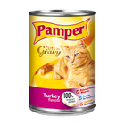 Purina Pamper Turkey in Gravy Tinned Ca t Food 385g