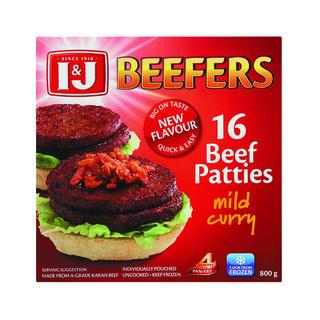 I&j Beefers Beef Burger Mild Curry 800 GR