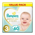 Pampers Premium Care Size 3 Value Pack, 60 Nappies