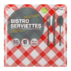 PnP 1ply Bistro Serviettes Red 50ea