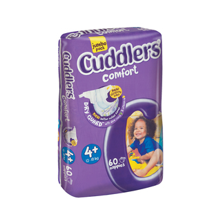 Cuddlers Comfort Diapers Size 4+ 12-18kg 60s
