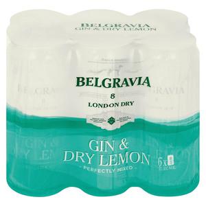 Belgravia Gin & Dry Lemon Can 440ml x 6
