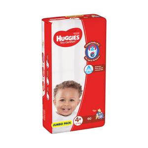 Huggies Dry Comfort Jumbo Size 4+ 60ea