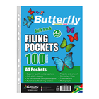 Butterfly Plastic Sleeves Filing Pockets 100ea