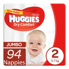 Huggies Dry Comfort New Baby Size 2 94ea x 2
