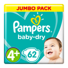 Pampers Baby-Dry Size 4+ Jumbo Pack, 62 Nappies