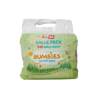 Bumbies Baby Wipes 60ea x4