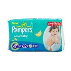 Pampers Active Baby Nappies Size 4 Maxi Plus 16kg+ Jumbo 62s x 2