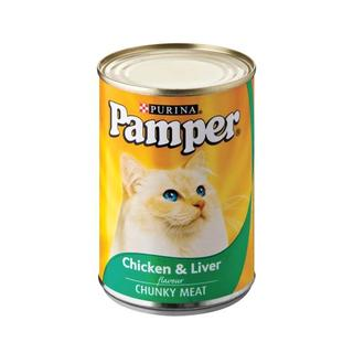 Purina Pamper Chicken & Liver Tinned Ca t Food 400g