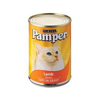 Purina Pamper Lamb Cuts in Gravy Tinne d Cat Food 385g