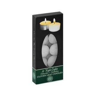 Clover Leaf Night Light Candles White 10 Ea